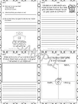 The Night Before First Grade Worksheets and Task Cards