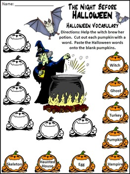 Halloween Reading Activities: Night Before Halloween Activity Packet