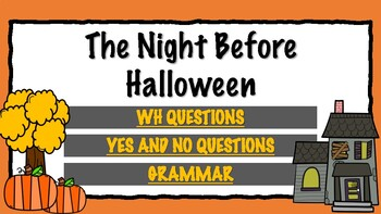 The Night Before Halloween *NO PRINT Book Companion Speech Therapy Resource