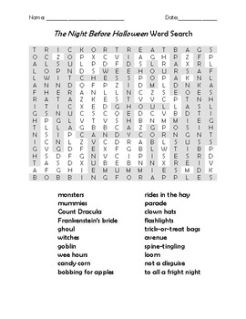 The Night Before Halloween Vocabulary Word Search for Kids