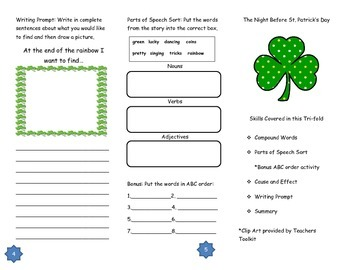 The Night Before St. Patrick's Day Comprehension Tri-fold