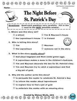 The Night Before St. Patrick's Day Reading Activities