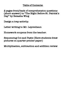 The Night Before St. Patrick's - N. Wing - Second, Third Comprehension plus!