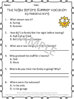 The Night Before Summer Vacation Worksheets and Task Cards
