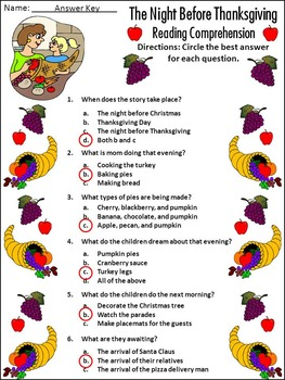 Thanksgiving Reading Activities: The Night Before Thanksgiving Activities -Color