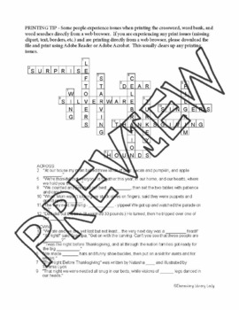The Night Before Thanksgiving Activities Wing Crossword & Word Searches