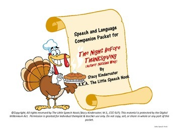 The Night Before Thanskgiving Speech & Language Companion Packet