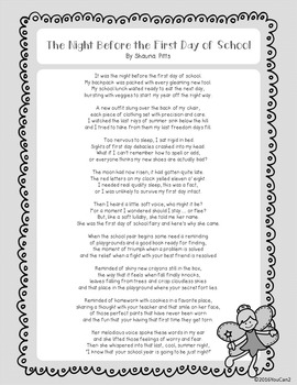 The Night Before the First Day of School: A Poem and Suggested Activities