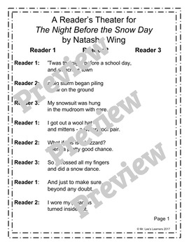 The Night Before the Snow Day by Natasha Wing - Reader's Theater Companion
