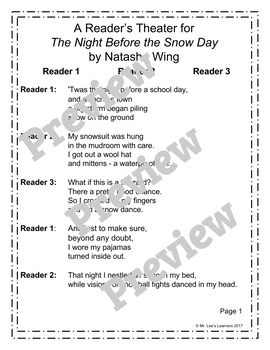 The Night Before the Snow Day by Natasha Wing- Reader's Theater