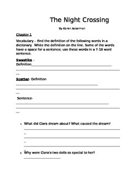 The Night Crossing comprehension questions and vocabulary