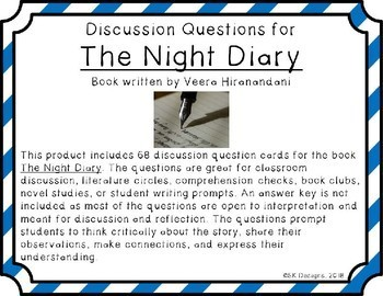 The Night Diary Novel Study Discussion Question Cards