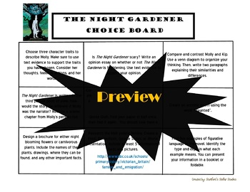 The Night Gardener Choice Board Activities Menu Book Project