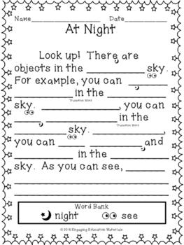 The Night Sky Beginner Writing Activity