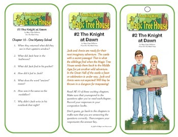 #2 The Knight at Dawn Comprehension Bookmarks - Magic Tree House Series