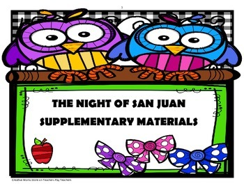 The Night of San Juan -  Reading questions + story elements bundle