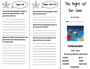 The Night of San Juan Trifold - Storytown 5th Grade Unit 2 Week 1