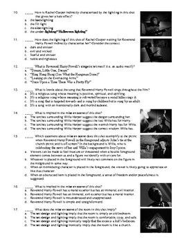 The Night of the Hunter Film (1955) 40-Question Matching & Multiple Choice Quiz