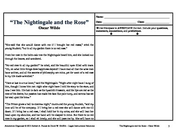 """""""THE NIGHTINGALE AND THE ROSE"""" by OSCAR WILDE: Annotation Organizer"""