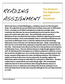 the nightmare before christmas reading comprehension