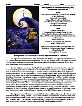 The Nightmare before Christmas Film (1993) Study Guide Movie Packet