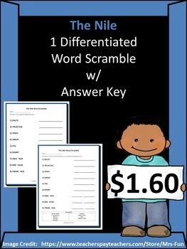 The Nile - 1 Differentiated Word Scramble w/ Answer Key