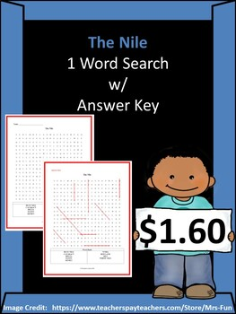 The Nile - 1 Word Search w/ Answer Key