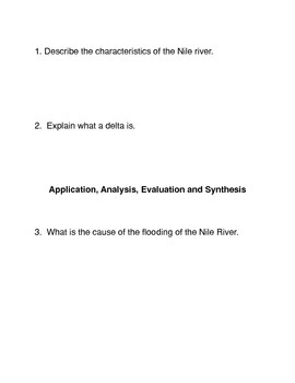 The Nile River Common Core activities