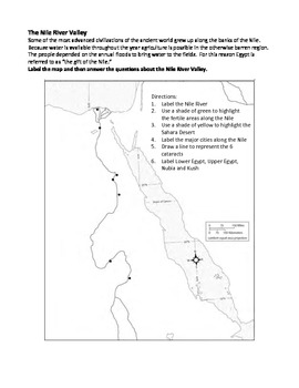 The Nile River Valley Map Activity
