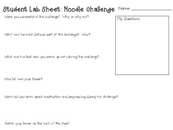 The Noodle Tower: Engineering Challenge Project ~ Great STEM Activity!