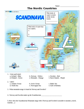 The Nordic Countries Map Activities - Scandanavia, Norther