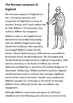 The Norman conquest of England Handout with activities