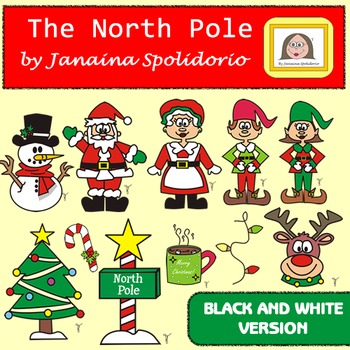 The North Pole Clipart - BW version