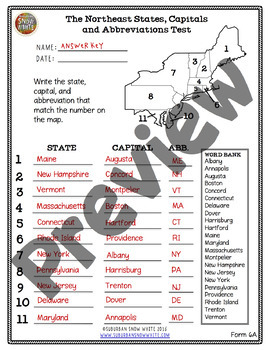The Northeast United States: 11 Tests Quizzes - States, Capitals, Abbreviations