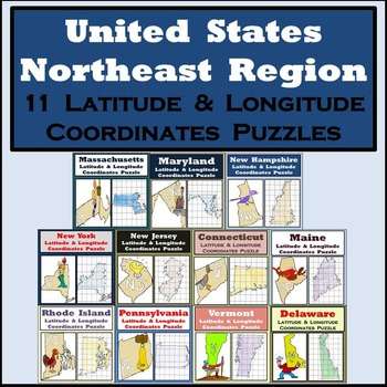 Latitude & Longitude Puzzles - The Northeast Region of the United States