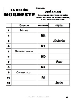 Northeast Region of the U.S. in English and Spanish