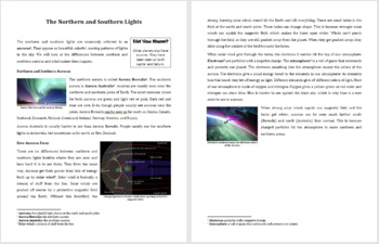 The Northern and Southern Lights - Reading Article - Grades 5-7
