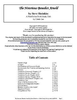 The Notorious Benedict Arnold by Steve Sheinkin:  A Nonfiction Book Study Unit