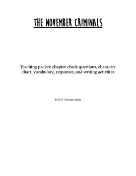 The November Criminals teaching and curriculum packet