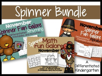 The November Spinner Bundle-Math, Letter/Sounds & Rhyming Fun Galore