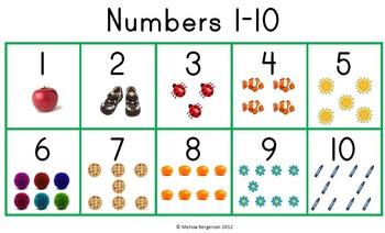 The Number Chart 1-10 by Melissa Bergerson | Teachers Pay Teachers