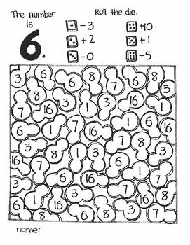 The Number Is...ADDITION AND SUBTRACTION (a roll and color game)