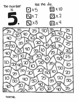 The Number Is...MULPLICATION:  FIND N (a roll and color game)