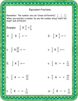 Equivalent Fractions: Using the number one, worksheet, and lesson.