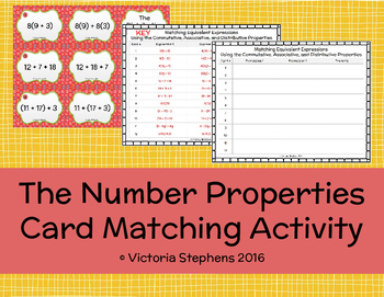 The Number Properties Card Matching Activity
