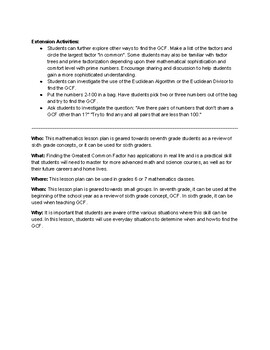 The  Number  System: Discovering When to Find the GCF Lesson Plan (Grades 6 & 7)