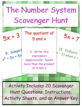 The Number System Scavenger Hunt