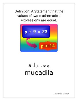 The Number System Word Wall-English to Arabic