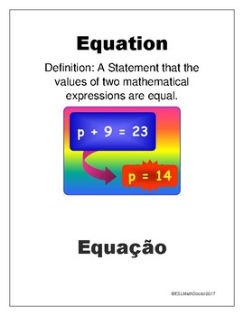 The Number System Word Wall-English to Portuguese