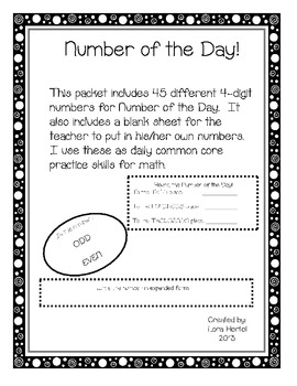 The Number of the Day, Daily Math Common Core practice